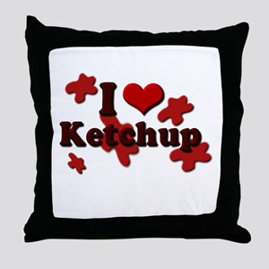 I Love Ketchup Throw Pillow