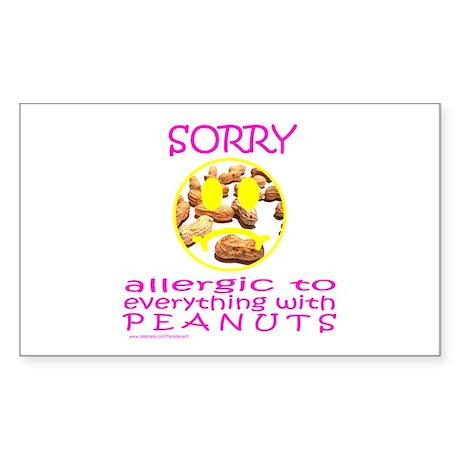 ALLERGIC TO PEANUTS Rectangle Sticker
