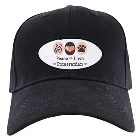 Peace Love Pomeranian Black Cap
