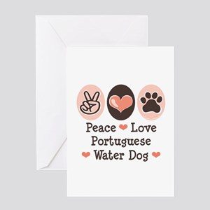 Peace Love Portuguese Water Dog Greeting Card