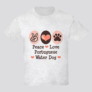 Peace Love Portuguese Water Dog Kids Light T-Shirt