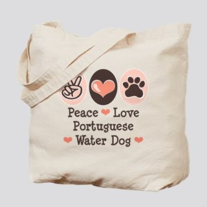 Peace Love Portuguese Water Dog Tote Bag