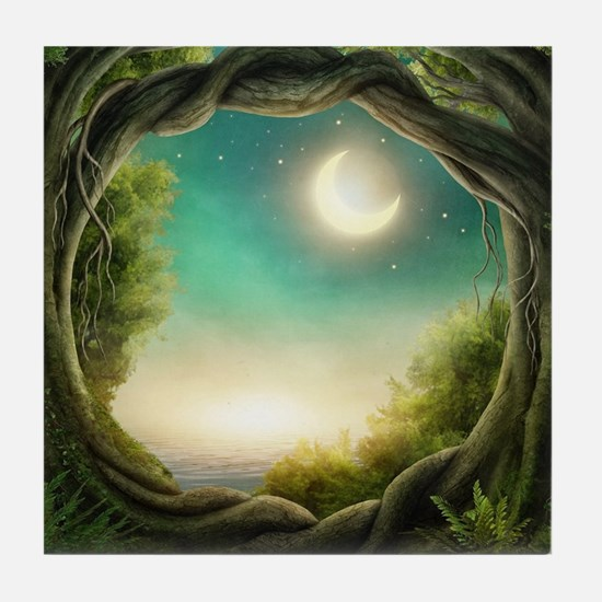 Enchanted Moon Tree Tile Coaster