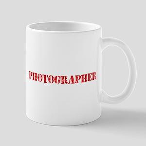 Photographer Red Stencil Design Mugs