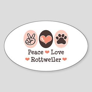 Peace Love Rottweiler Oval Sticker