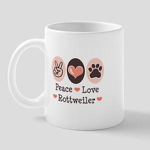 Peace Love Rottweiler Mug
