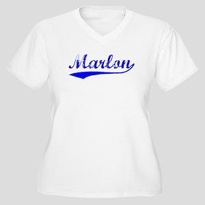 Vintage Marlon (Blue) Women's Plus Size V-Neck T-S