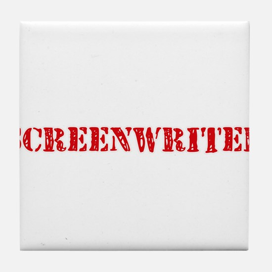 Screenwriter Red Stencil Design Tile Coaster