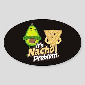 Emoji Avocado Nacho Problem Sticker (Oval)