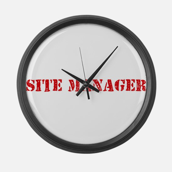 Site Manager Red Stencil Design Large Wall Clock
