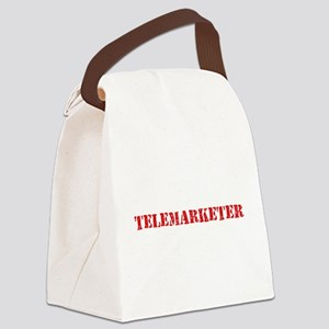 Telemarketer Red Stencil Design Canvas Lunch Bag
