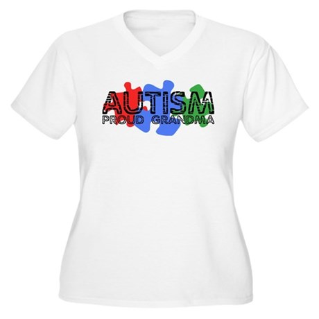 Autism - Proud Grandma Women's Plus Size V-Neck T-