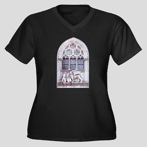 San Marco Women's Plus Size V-Neck Dark T-Shirt
