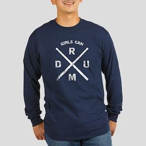 Girls Can Drum Long Sleeve Dark T-Shirt