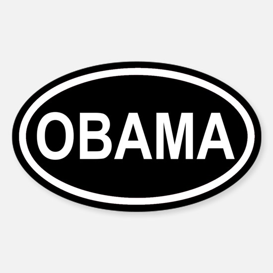 OBAMA 08' Black Euro Oval Decal