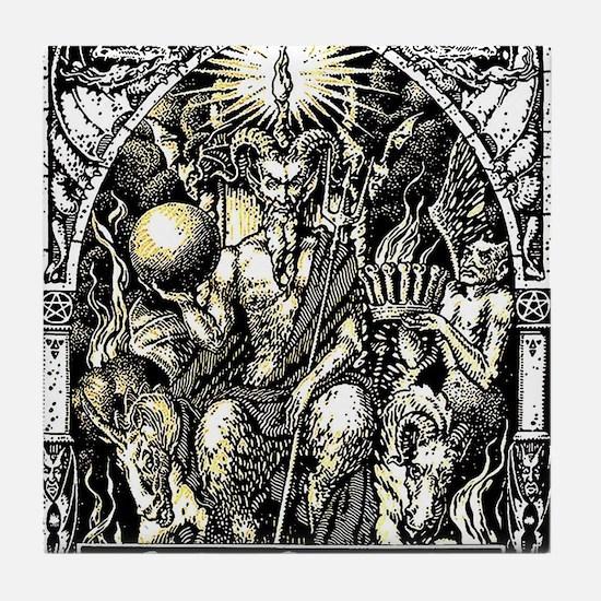 Funny Satanic pentagram Tile Coaster