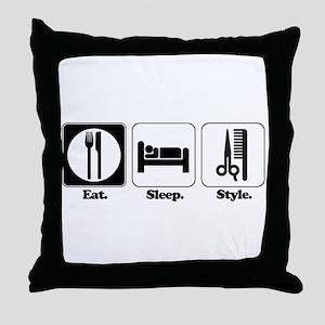 Eat. Sleep. Style. (Hair) Throw Pillow