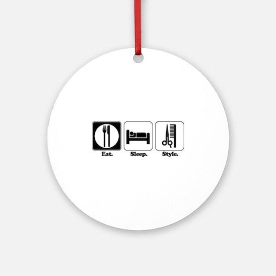 Eat. Sleep. Style. (Hair) Ornament (Round)