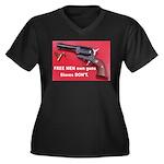 Free Men Own Guns Women's Plus Size V-Neck Dark T-
