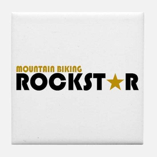 Mountain Biking Rockstar Tile Coaster