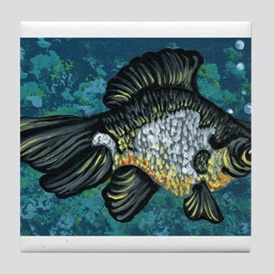 Panda Black Moor Goldfish Tile Coaster