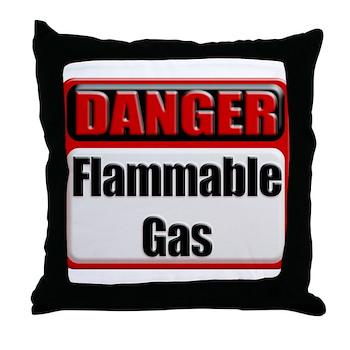 Danger: Flammable Gas Throw Pillow