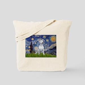 Starry Night/Bull Terrier Tote Bag