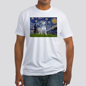 Starry Night/Bull Terrier Fitted T-Shirt