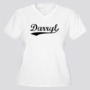 Vintage Darryl (Black) Women's Plus Size V-Neck T-