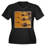 Acoustic Tone Women's Plus Size V-Neck Dark T-Shir
