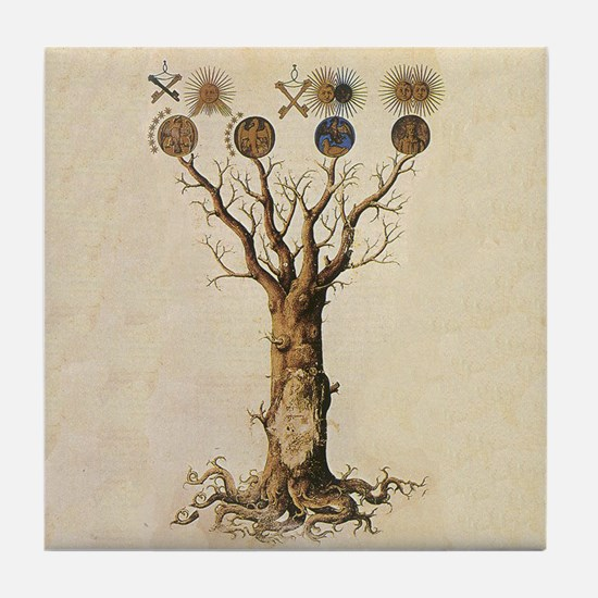 Unique Witch tree Tile Coaster
