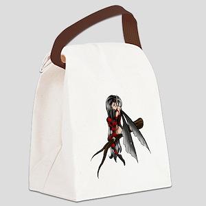 black stripe fairysmall Canvas Lunch Bag