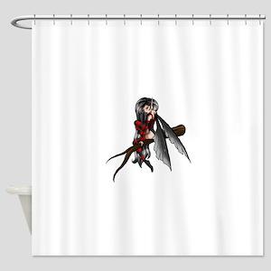black stripe fairysmall Shower Curtain