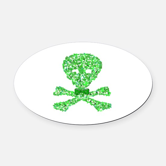 Saint Patrick's Day Shamrock Skull Oval Car Magnet