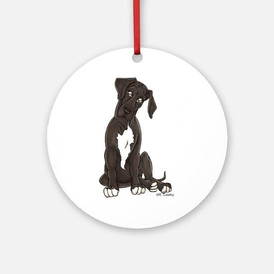 NBlkW Pup Tilt Ornament (Round)