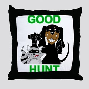 Raccoon Hunting Hound Throw Pillow