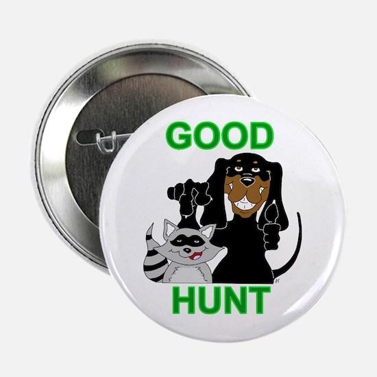 "Raccoon Hunting Hound 2.25"" Button"
