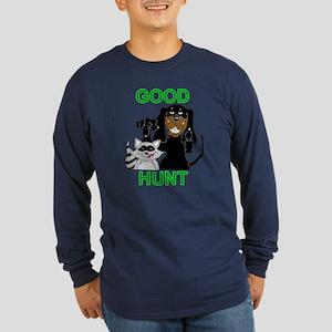 Raccoon Hunting Hound Long Sleeve Dark T-Shirt