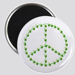 Green Beer Peace Sign Magnet