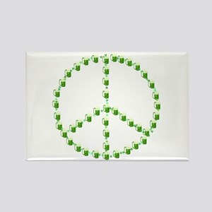 Green Beer Peace Sign Rectangle Magnet