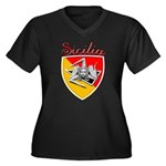 Sicilian Trisceli Women's Plus Size V-Neck Dark T-