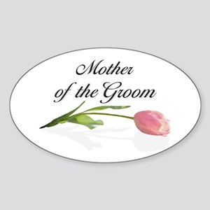 Pink Tulip Mother of Groom Oval Sticker