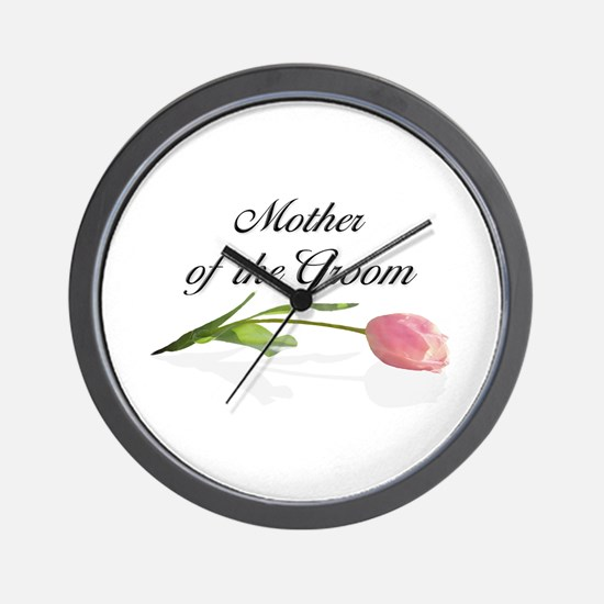 Pink Tulip Mother of Groom Wall Clock