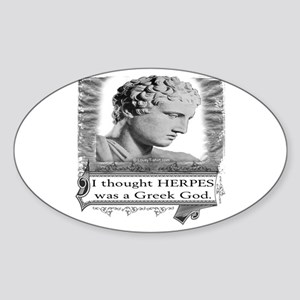 Greek God Herpes Oval Sticker