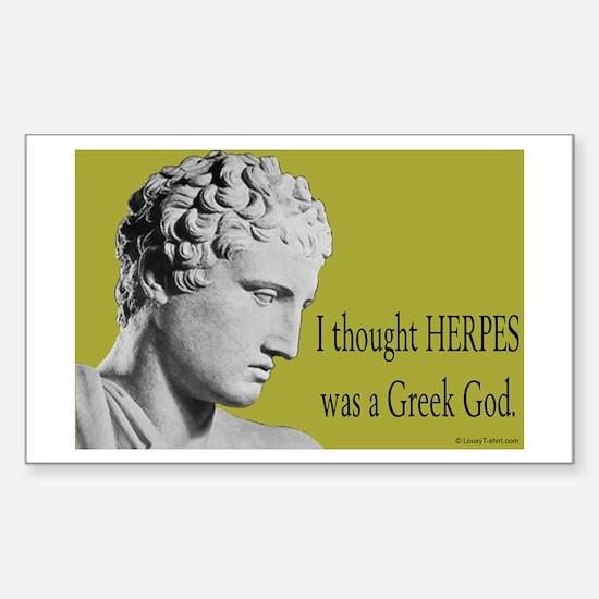 Greek God Herpes Rectangle Decal