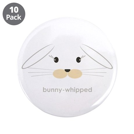 """bunny face - lop ears 3.5"""" Button (10 pack)"""