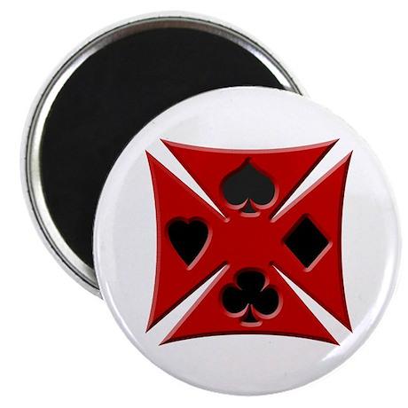 Ace Biker Iron Maltese Cross Magnet
