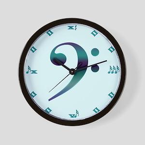 Bass Clef Teal Wall Clock