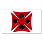 Ace Biker Iron Maltese Cross Rectangular Sticker