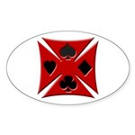 Ace Biker Iron Maltese Cross Oval Sticker